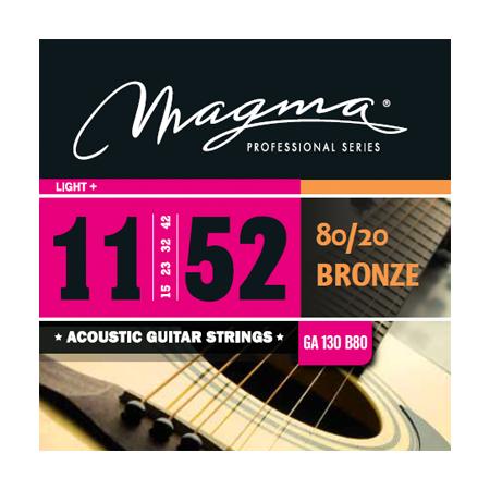 Las cuerdas para guitarra Acústica MAGMA, elaboradas con la aleación tradicional de Bronce 80/20 de primera calidad, se caracterizan por su sonido nítido, potente y brillante. Excelentes para todos los estilos acústicos.