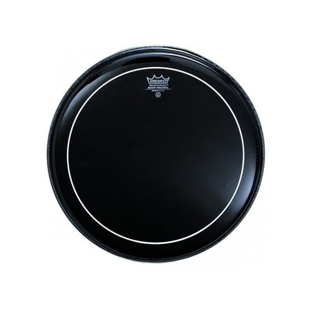 El Parches Remo Pinstripe Negro (Ebony) presenta tonos bajos enfocados con sostenido controlado.  Construido con 2 capas de película Ebony de 10 mm y 1 película transparente de 5 mm.